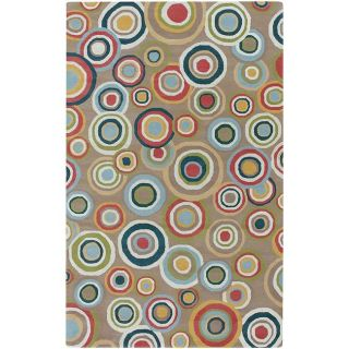 Hand tufted Contemporary Multi Colored Circles Geometric Corbett New