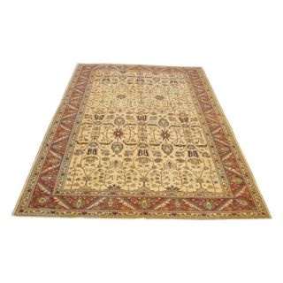 Oushak Hand knotted Vegetable Dye Beige Wool Rug (119 x 173