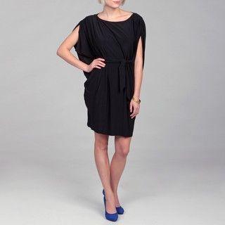 Jessica Howard Womens Black Batwing Sleeve Tie Waist Dress