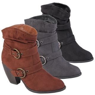 Hailey Jeans Co. Womens Jenny Sueded Buckle Detail Ankle Boots