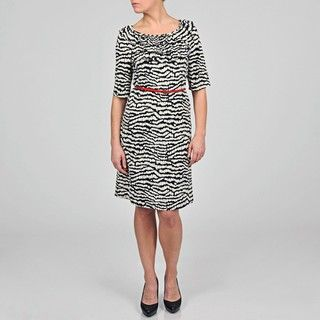 Tiana B Womens Black/ Ivory Abstract Striped Ruffled Belted Dress