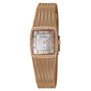 Skagen Womens Mesh Rose Goldplated Stainless Steel Crystal Watch