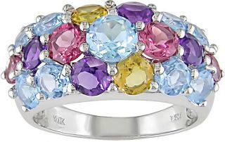 10k White Gold Multi gemstone Ring