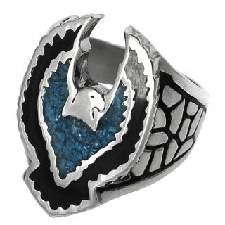 Daxx Mens Stainless Steel Black Acrylic Turquoise Bird Design Ring