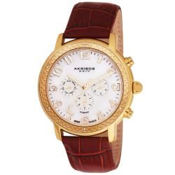 Akribos XXIV Mens Swiss Diamond Day/ Date GMT Strap Watch