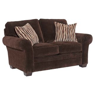 Broyhill Zoey Dark Chocolate Corduroy Loveseat and Accent Pillows