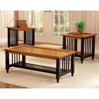 Blacksmith Country Pine/ Black 3 piece Table Set