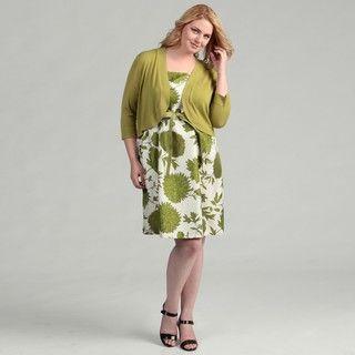 Jessica Howard Womens Plus Belted 2 piece Sweater Dress