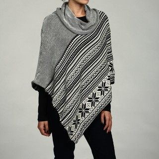 Eight Eight Eight Womens Fair Isle Cowl Neck Poncho