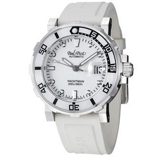 Paul Picot Mens Yachtman White Dial White Rubber Strap Watch