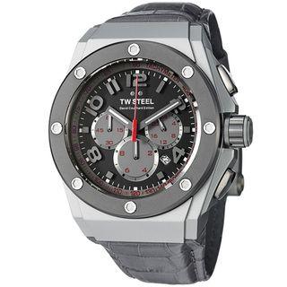 TW Steel Mens Ceo Tech Grey Dial Grey Leather Strap Quartz Watch