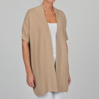 Adrienne Vittadini Womens Elbow sleeve Open front Cardigan