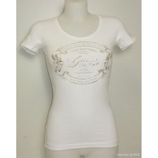 TEE SHIRT FEMME GUESS 95% Coton 5% Elasthanne COL ROND LOGO GUESS
