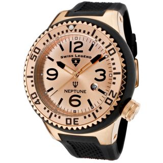 Swiss Legend Mens Neptune Rose Gold Dial Black Silicone Watch