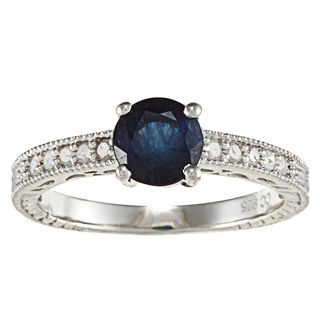 Viducci Sterling Silver Sapphire and 1/5ct TDW Diamond Ring (G H, I1