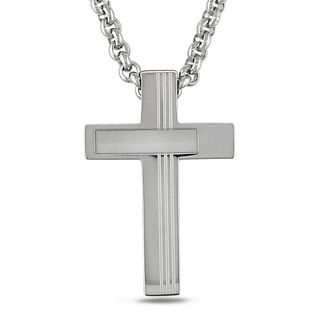 Miadora Stainless Steel Mens Cross Necklace