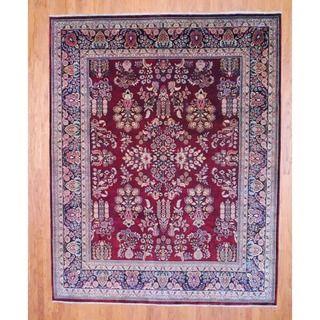 Indo Hand knotted Sarouk Burgundy/ Black Wool Rug (8 x 10