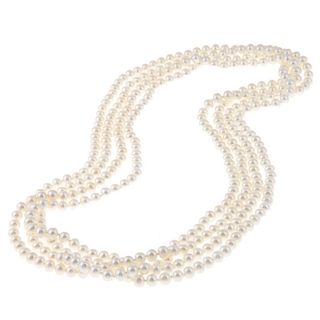 White Freshwater Pearl 100 inch Endless Necklace (6.5 7 mm