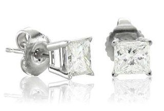 Mens 14k White Gold Princess Cut Diamond Stud Earrings