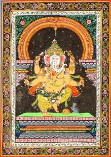 Dancing Ganesha   Water Color Painting on Patti   Folk Art
