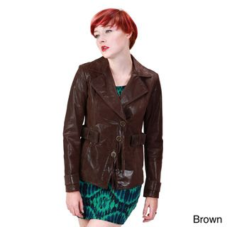 Ramonti Womens Short Leather Belted Safari Blazer Trench