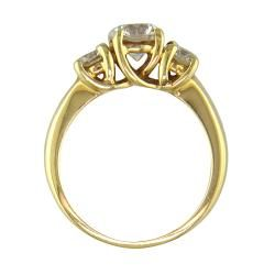 14k Gold 1 5/8ct TDW Certified Clarity enhanced Diamond 3 stone Ring