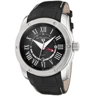 Swiss Legend Mens Traveler Black Leather GMT Watch