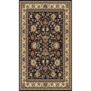 Tajmahal Design Black/ Brown Rug (5 x 7)