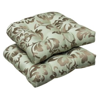 Pillow Perfect Outdoor Brown/ Green Floral Wicker Seat Cushions with