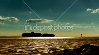 Container ship silhouette against the sunset  Foto stock © Alis