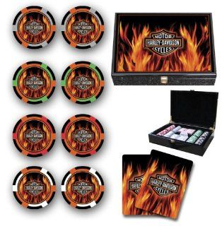 Harley Davidson Flame Poker Chips Set of 200 NEW Sports