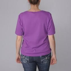 Adi Designs Womens Embellished Neck Tee