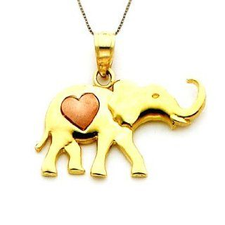 14k Two Toned Gold Elephant and Heart Necklace Pendant