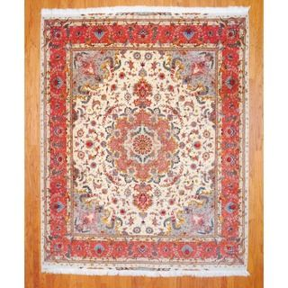 Persian Hand knotted Fine Tabriz Ivory/ Peach Wool/ Silk Rug (84 x 10