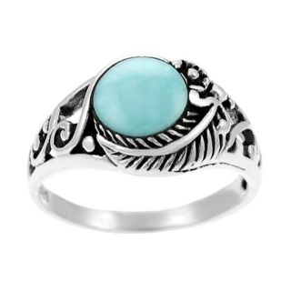 Tressa Sterling Silver Turquoise Leaf Ring