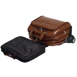 McKlein Midway Leather Checkpoint friendly 17 inch Rolling Laptop Case