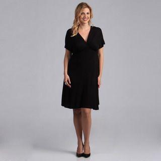 24/7 Comfort Apparel Womens Plus Size Black Empire Dress