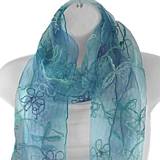 Hand spun Silk Embroidered Small Daisy Blue Scarf (India)