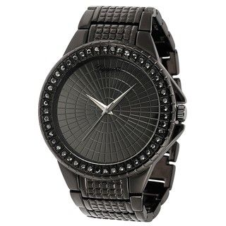 Geneva Platinum Rhinestone accented Large Face Link Watch