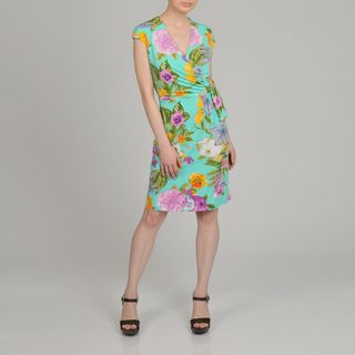 Lennie for Nina Leonard Womens Floral Print Faux Wrap Dress