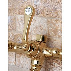Deck mount Polished Brass Clawfoot Tub Faucet with Hand Shower
