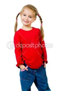 Cute little girl with a plaits  Foto Stock © Tetiana Vychegzhanina