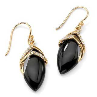 Angelina DAndrea 18k Goldplated Onyx and Clear Cubic Zirconia Drop