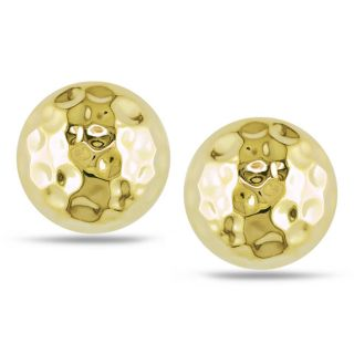 14k Yellow Gold Hammered Stud Earrings