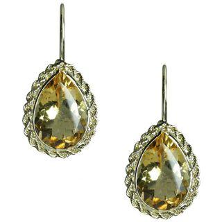 14k Yellow Gold Pear cut Citrine Earrings