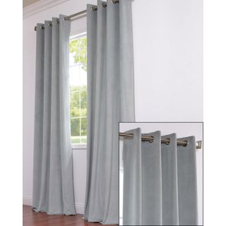 Signature Grommet Grey Blue Velvet 96 Inch Curtain Panel