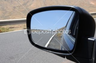 Road in rear view mirror, Fuerteventura Spain  Stock Photo © Philip