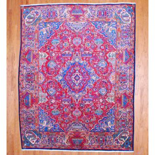 Persian Hand knotted Kashmar Red/ Beige Wool Rug (102 x 129