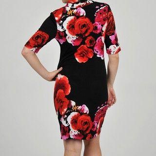 Tiana B. Womens Oversized Rose Jersey Knit Dress
