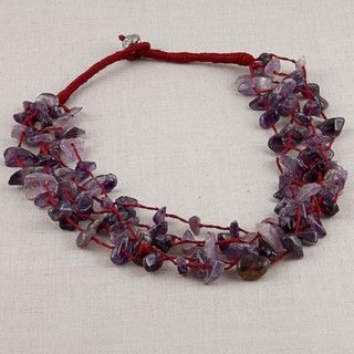 Purple Amethyst Chips Necklace (India)